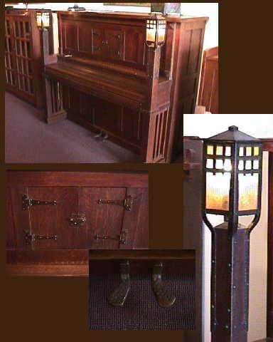 Rare Farrand Cecilian piano with Stickley lamps & hardware