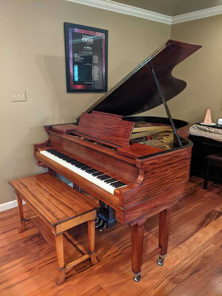 """Beautiful Chickering Parlor Grand Piano 5'8"""" with Ivory Keys"""