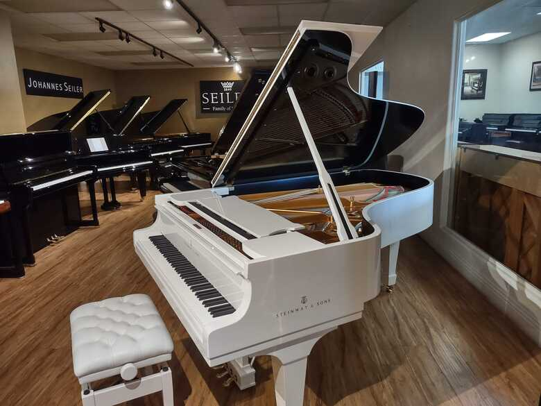 Steinway grand piano model B white polish