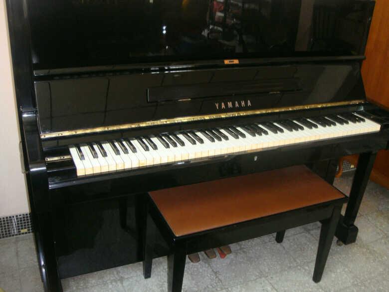 """Yamaha 48"""" Upright Piano (U1H from 1980s; Ebony finish"""