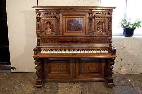 Neoclassical Style, German Upright Piano with a  Walnut Case