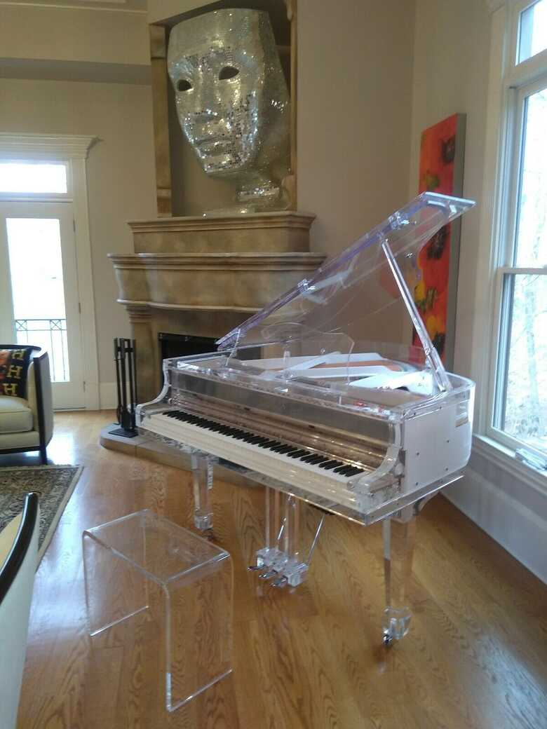 Self player Grand Piano Handcrafted transparent Crystal Gran